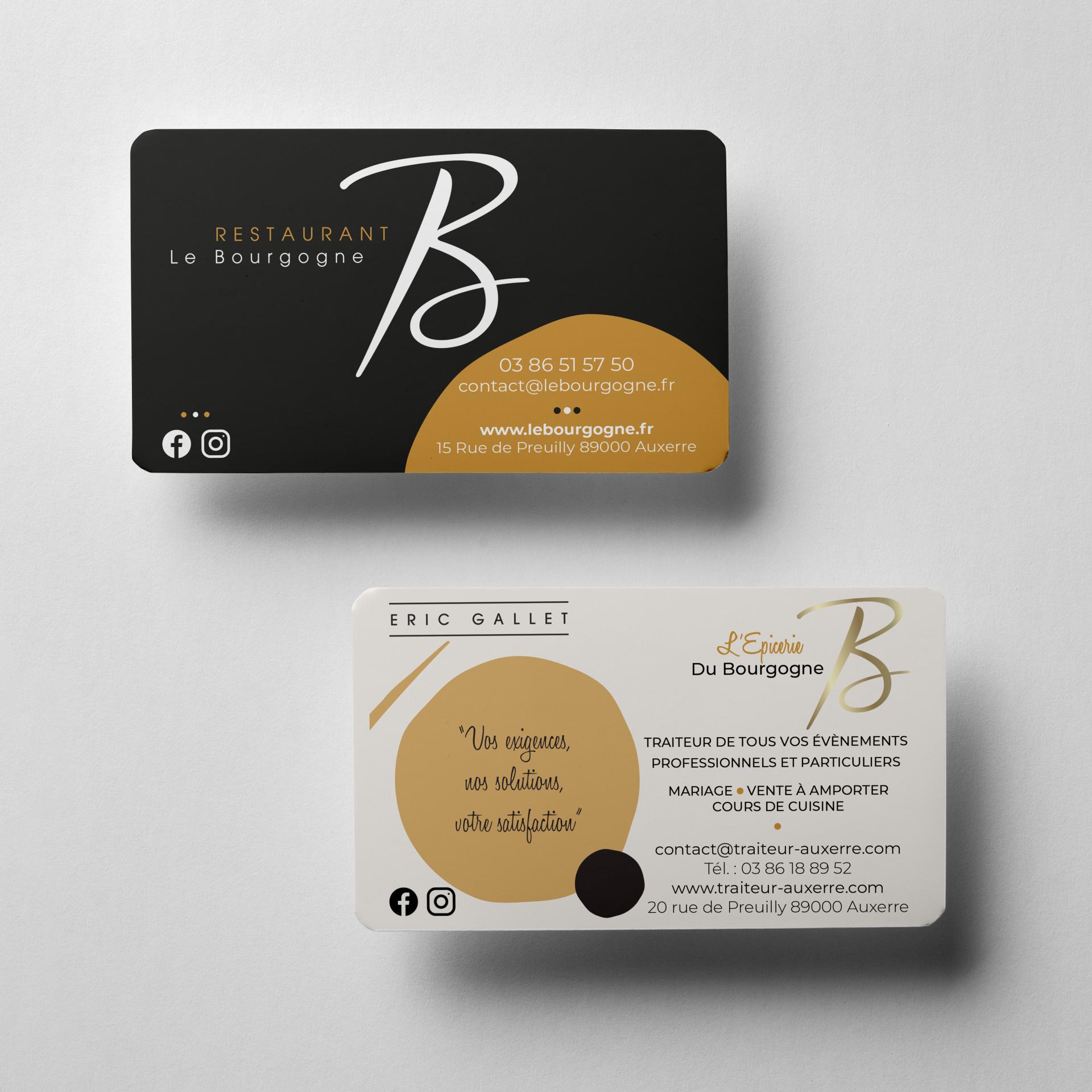 Cartes de visite Epicerie du Bourgogne & Restaurant Le Bourgogne