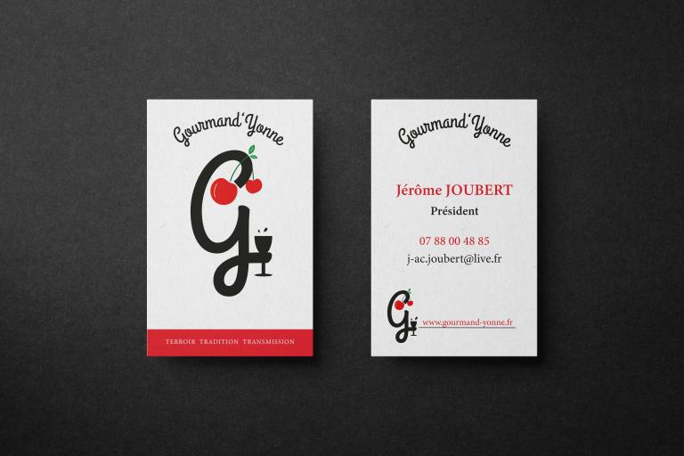Cartes de visite pour l'association Gourmand'Yonne